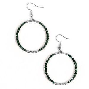 Green Rhinestone Hoop Earrings